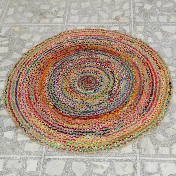 Handmade Rag Rugs For Sale: Round Large Recycled Mats Indian Braided Floor Rug