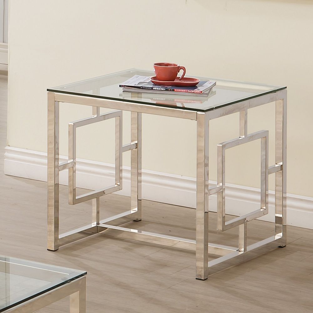 Contemporary End Table Metal Frame Design w/Glass Top Nickel Finish ...