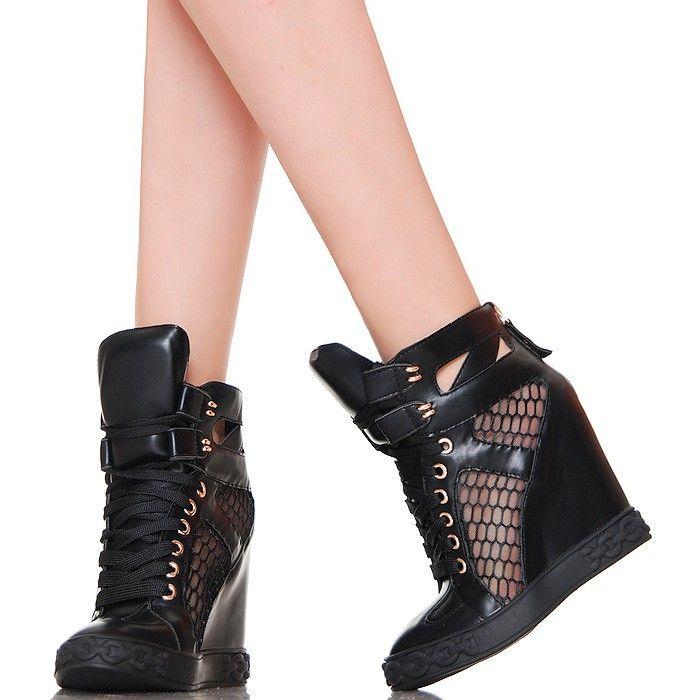 Sneakersy Czarne Siatka Zlote Blaszki Wedge Sneaker Sneakers Shoes