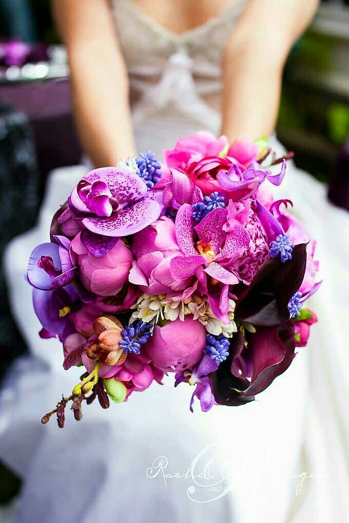 Exquisite Bridal Bouquet Featuring A Variety Of Orchids, Peonies, Grape Muscari Hyacinth, Calla Lilies + Additional Florals