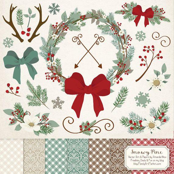 Premium Rustic Christmas Clip Art U Digital Papers Set Pine Wreath Clipart