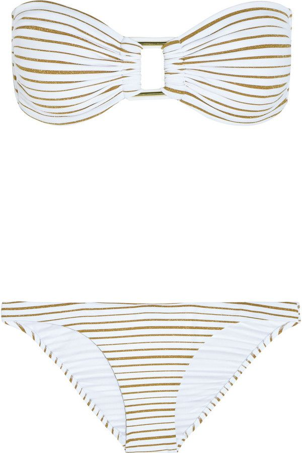 b4b860d095 Melissa Odabash Angola Metallic Striped Bandeau Bikini  gold  white   metallic  bikini