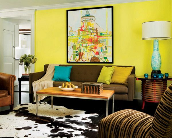 Simple Small Living Room - brown sofa w/ yellow & turquoise details ...