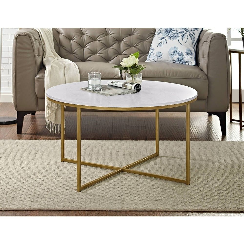 Silver Orchid Helbling 36 Inch Round Coffee Table Marble Top Coffee Table Round Coffee Table Furniture