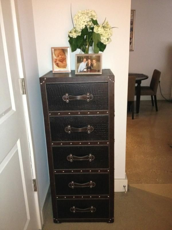 This Is Faux Leather Glued On As A Fascia To Make The Drawer Look Like Luggage Campaign Chest