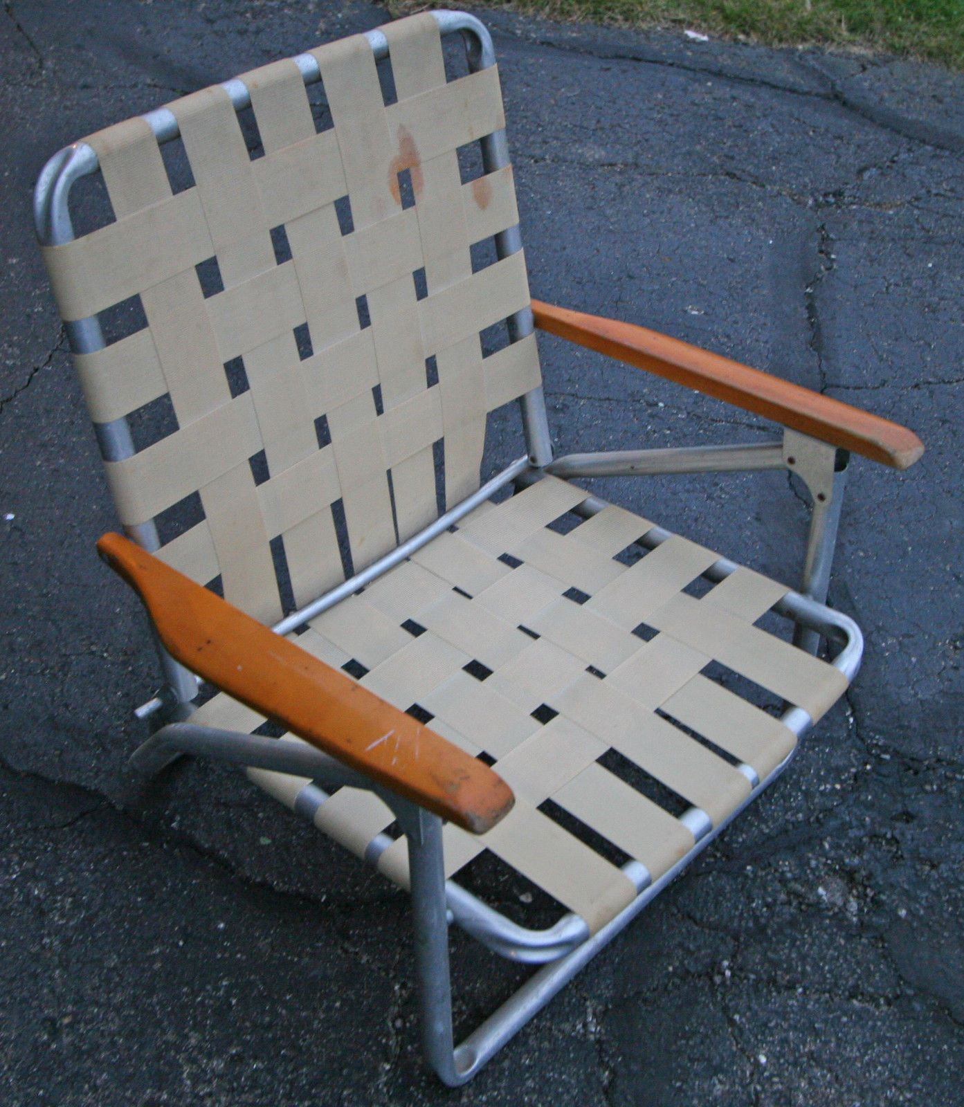 Details About Vintage Webbed Aluminum Folding Retro Lawn Chair Patio