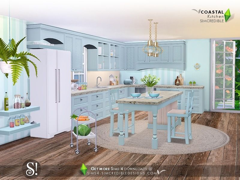 It S Time To Cook In Nautical Style Bringing The Kitchen To Your Beachy Sim Homes With 13 New Objects Some Fr Sims House Sims 4 House Design Sims House Plans