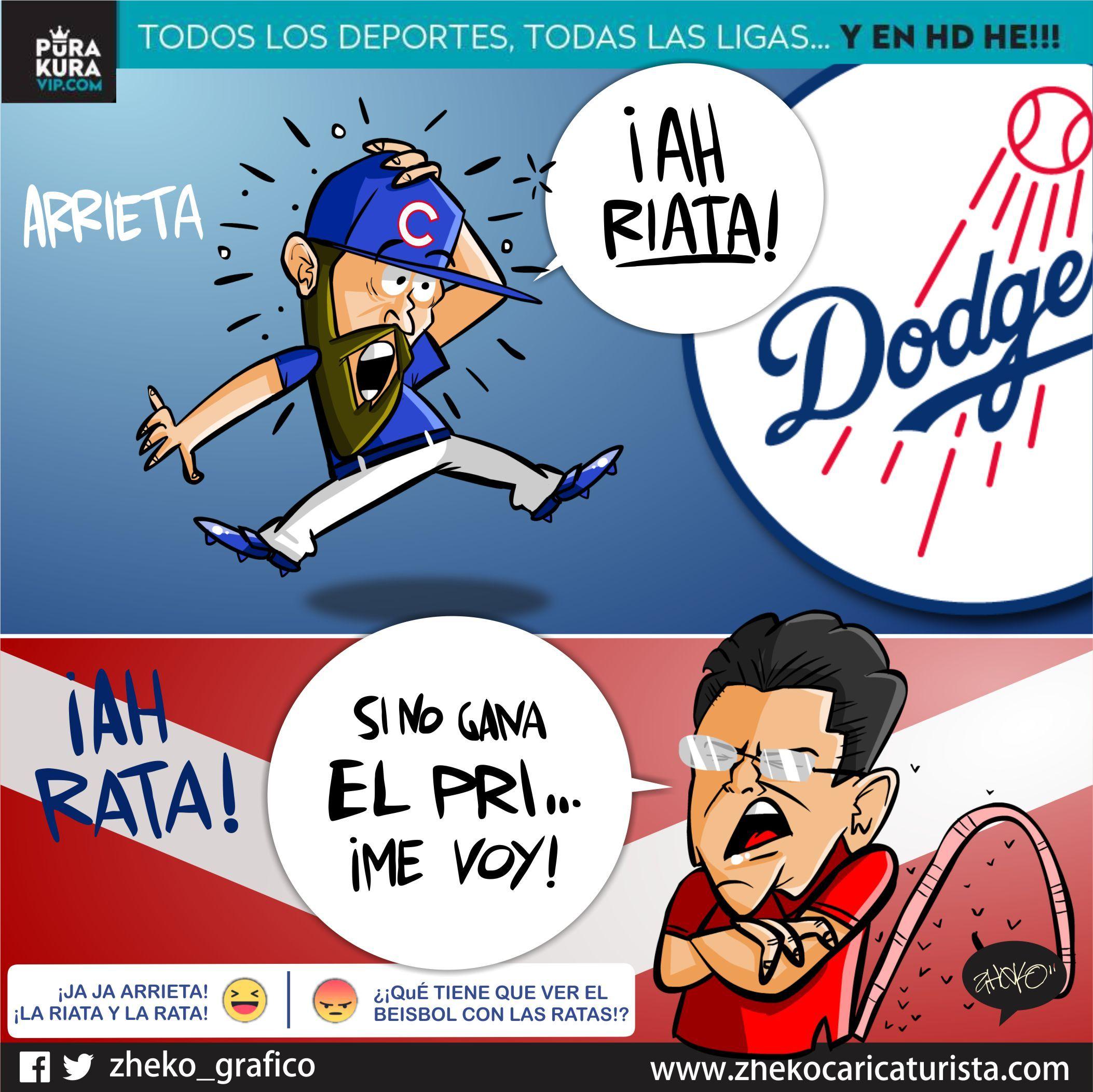 "#ElCartonDelDia para @PurakuraWeb ""ARRIETA, AH RIATA Y AH RATA"" @JArrieta34 @LosDodgers @Cubs@fidelkugra #Veracruz"