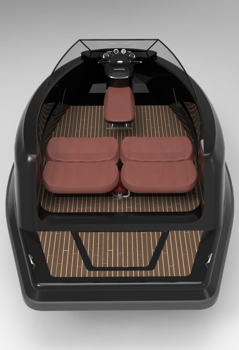 jet capsule's newest mini jet yacht has a removable roof