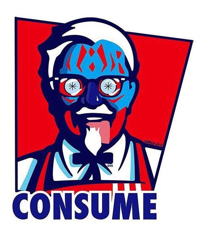 "102 Me gusta, 1 comentarios - Hal Hefner (@halhefner) en Instagram: ""You are what you #consume colonel. #kfc #consumerism #fastfood #theylive #halhefner #colonelsanders…"""