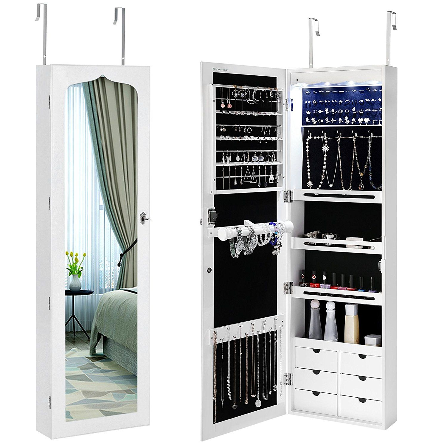 Amazoncom SONGMICS LED Jewelry Cabinet Armoire 6 Drawers Lockable