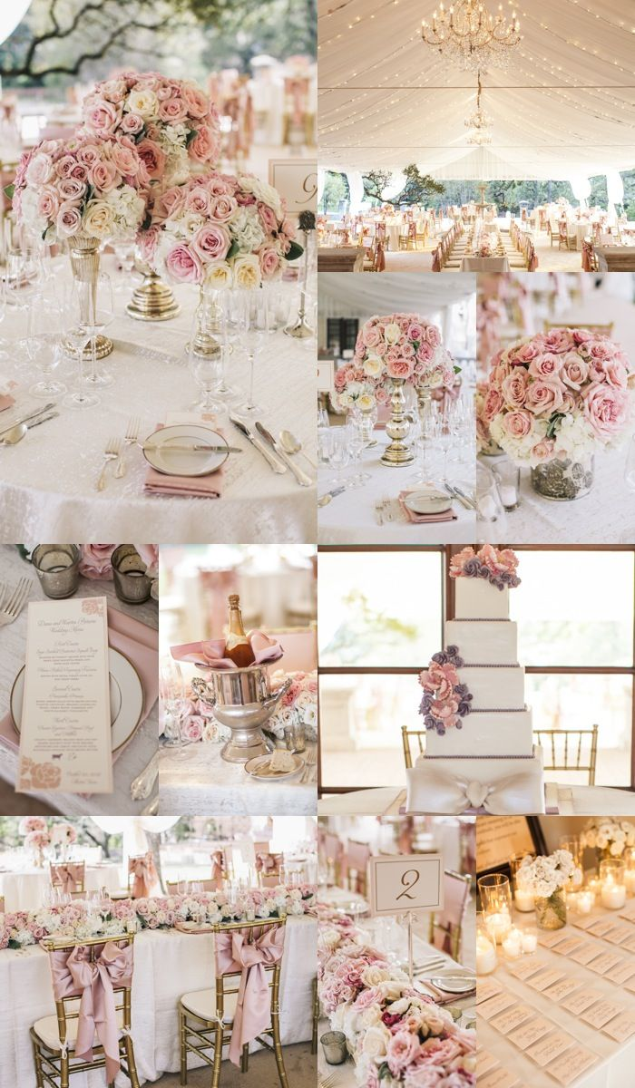 86a54a176fe2 Scroll through this gallery to see 4 winning combinations! Click the image  to Pin your favorite ones! Romantic pink wedding reception inspiration ...