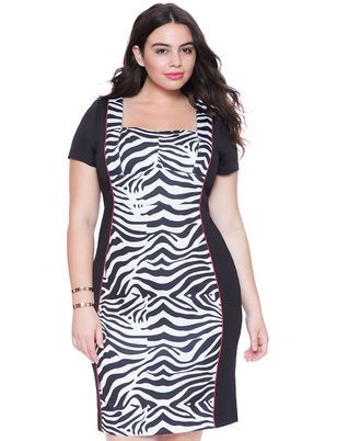 Plus Size Sweetheart Neckline Colorblock Dress From The Plus Size