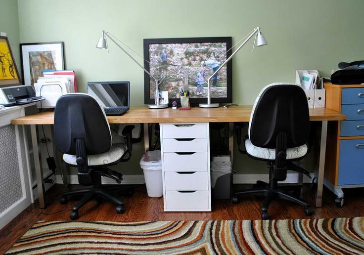 Picture Of 2 Person Desk Ikea, Good Idea Of Sharing Desk Office