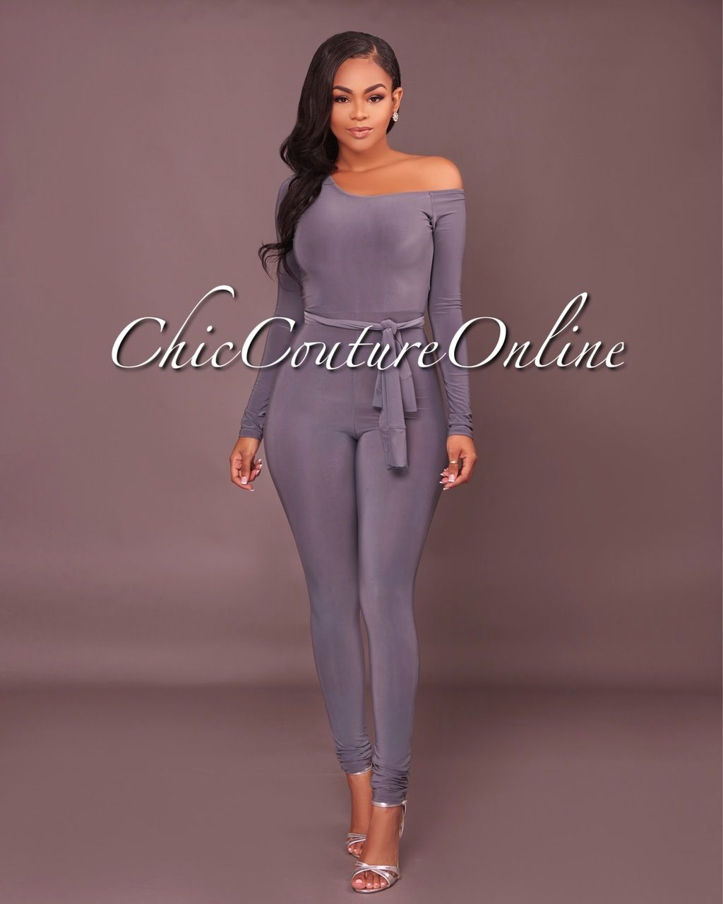 Chic Couture Online - Camry Grey Off-Shoulder Jumpsuit, (http://www ...