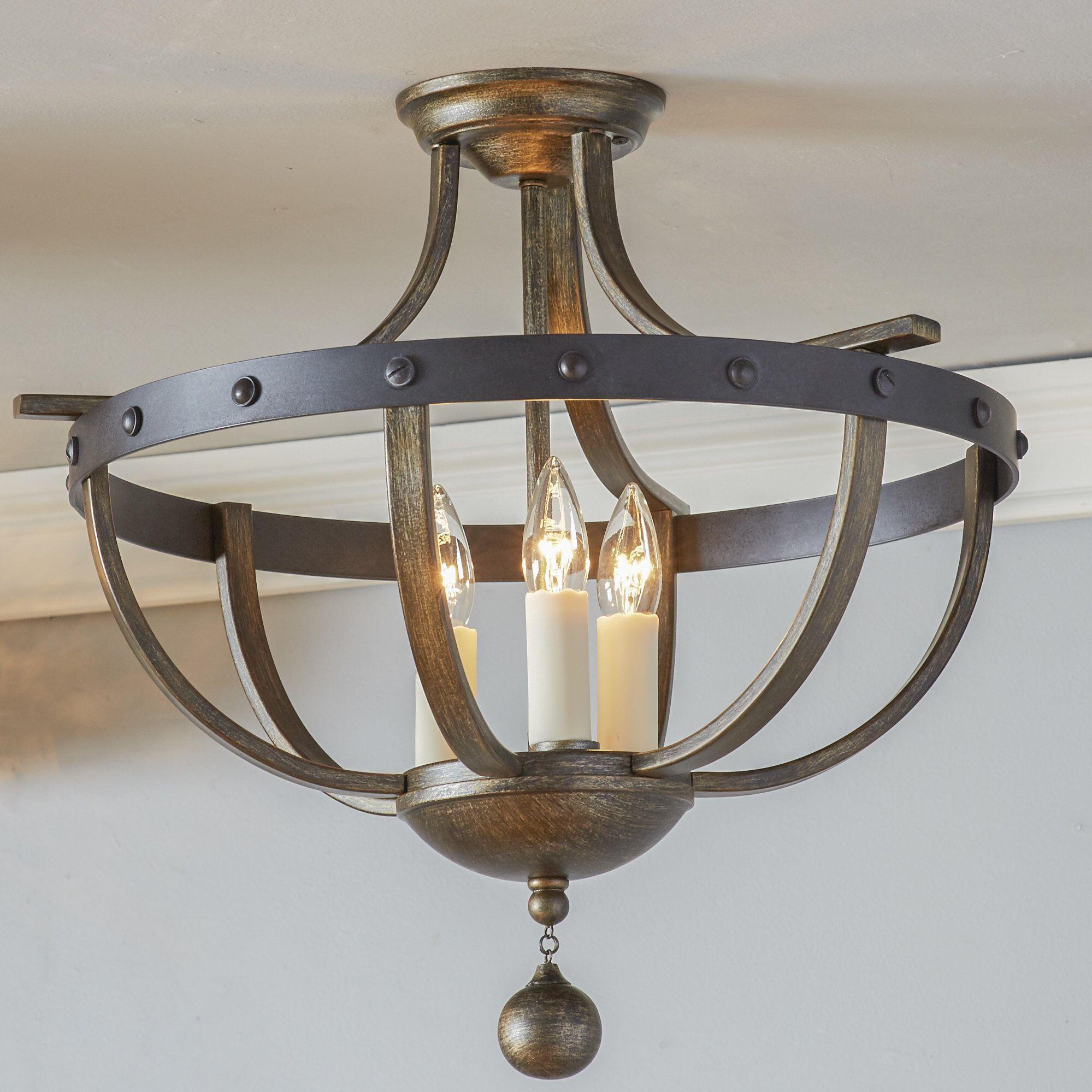 Bettyjo 3 light 20 caged geometric semi flush mount