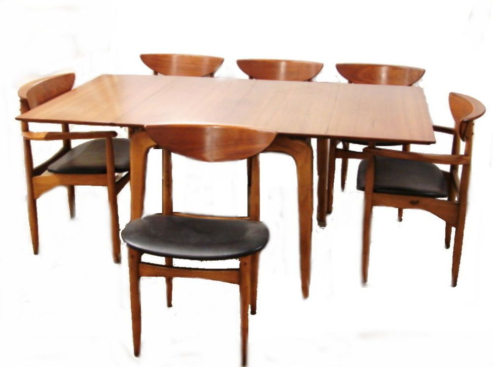 Vintage Mid Century Danish Modern Lane Perception Walnut Dining Table 6 Chairs Danishmodern