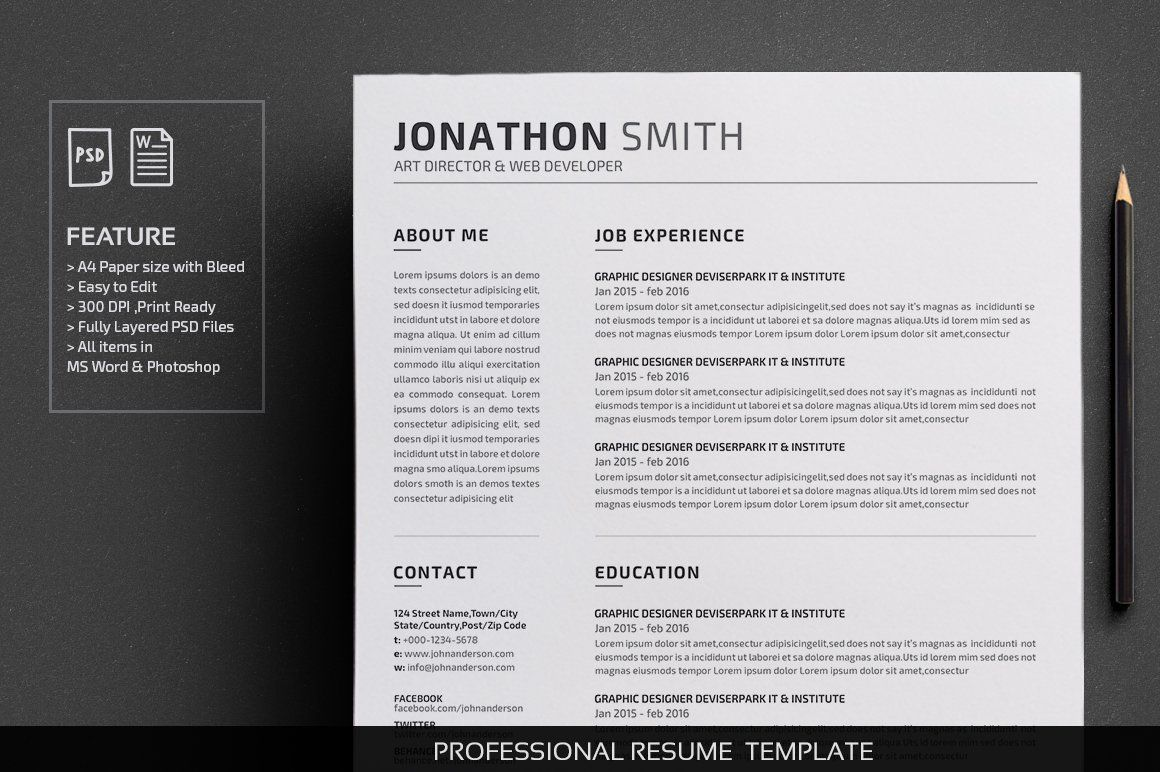 Resume/CV by deviserpark on creativemarket Resume