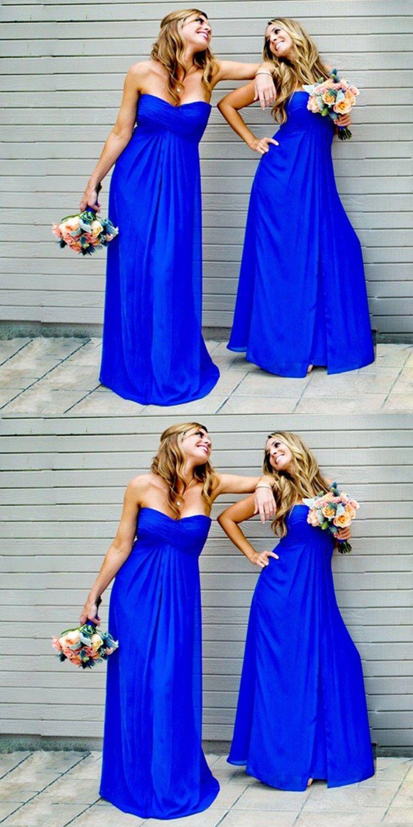 Aline sweetheart floorlength royal blue chiffon bridesmaid dress