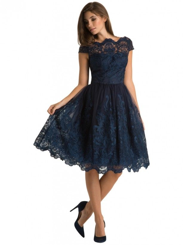 Stunning navy lace knee length scallop neck midi elegant dress     Stunning navy lace knee length scallop neck midi elegant dress  Perfect for  an evening wedding guest outfit or could be brightened up with bold  accessories