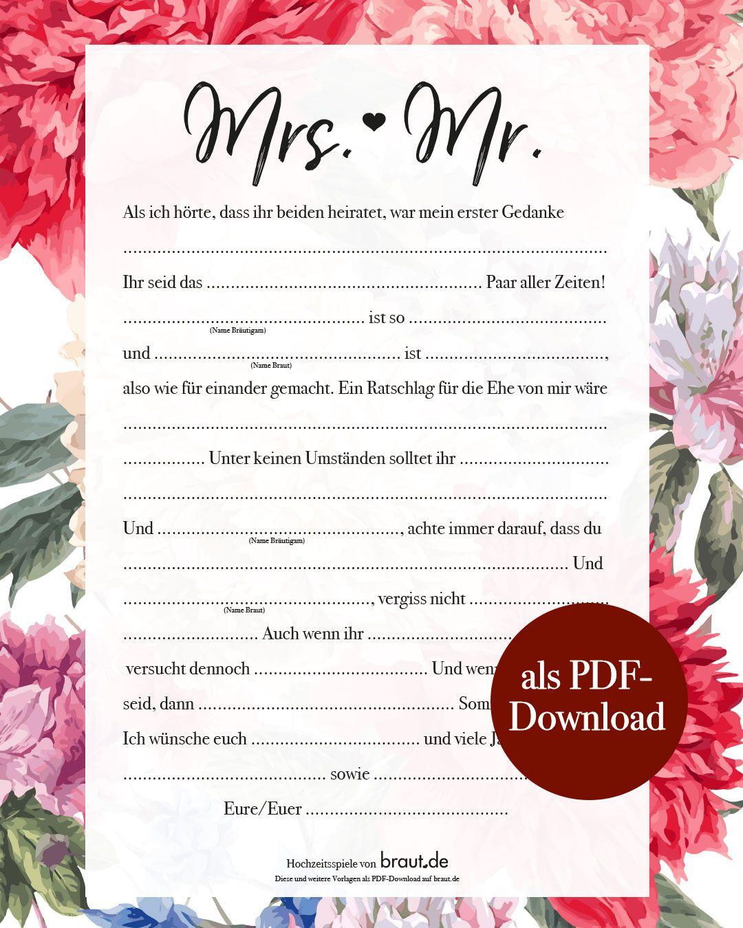 Hochzeitsspiel: Lückentext zum Ausfüllen für die Hochzeitsgäste