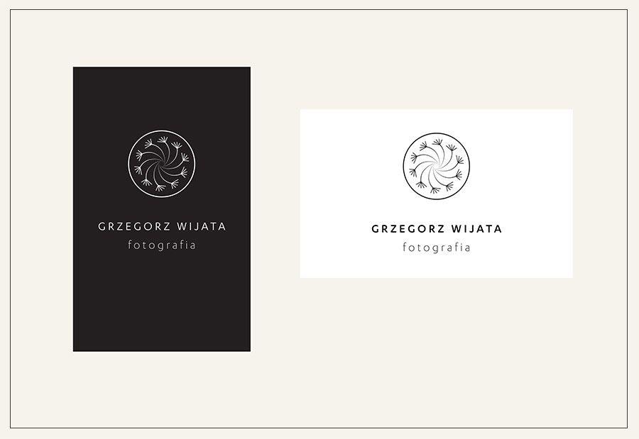 logo sur les cartes de visite du photographe grzegorz