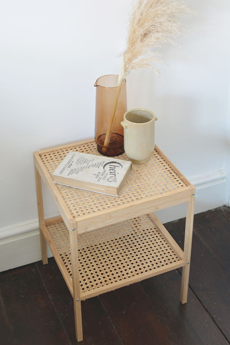 rattan bedside table IKEA hack