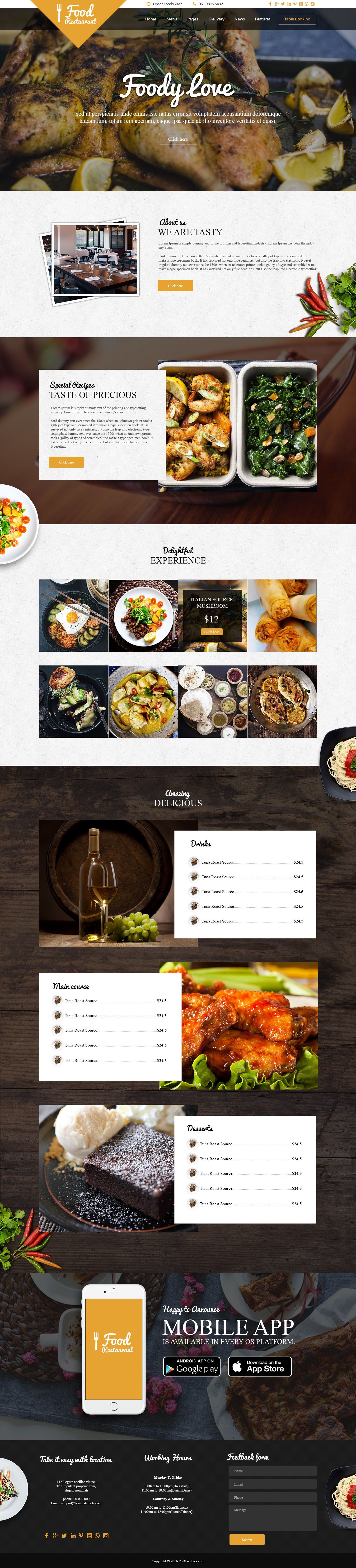 Food and Restaurant Free PSD Template | Design | Pinterest | Psd ...