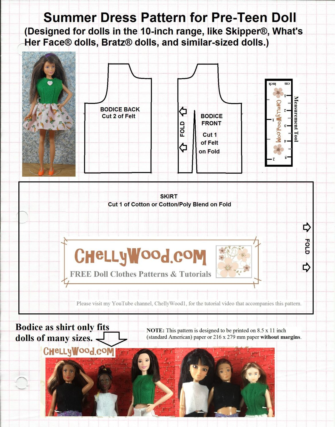 Free sewing patterns for fashion dolls - Image Shows An Easy To Sew Free Printable Sewing Pattern For Fashion Dolls Like