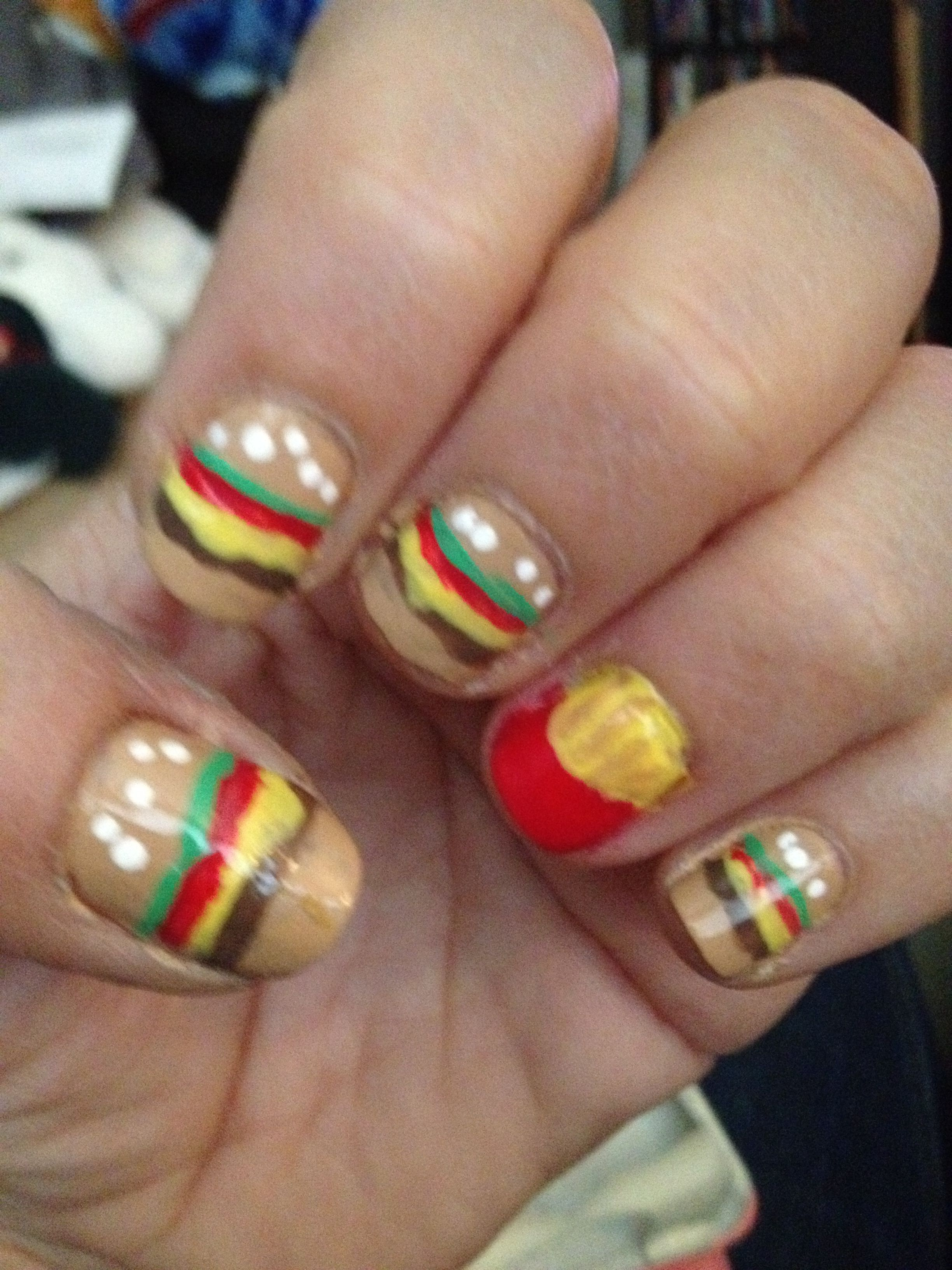 cheese burger nail art with french