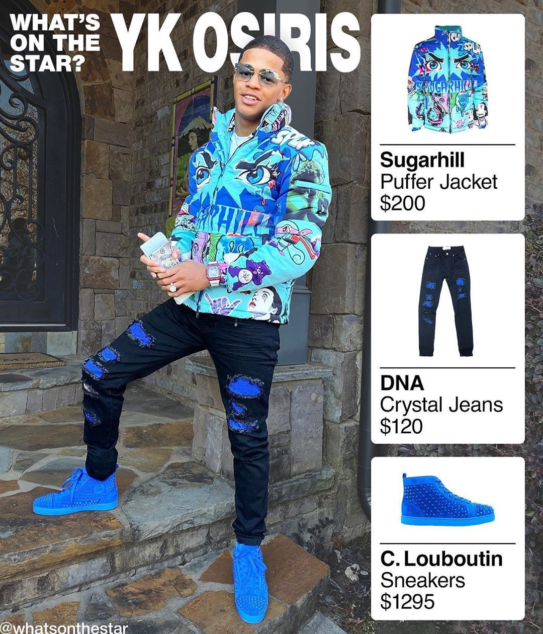 What S On The Star On Instagram Ykosiris Wearing Sugarhill Psycho Neon Blue Puffer Jacket 200 180 Dn Blue Puffer Jacket Blue Outfit Mens Streetwear [ 1260 x 1080 Pixel ]