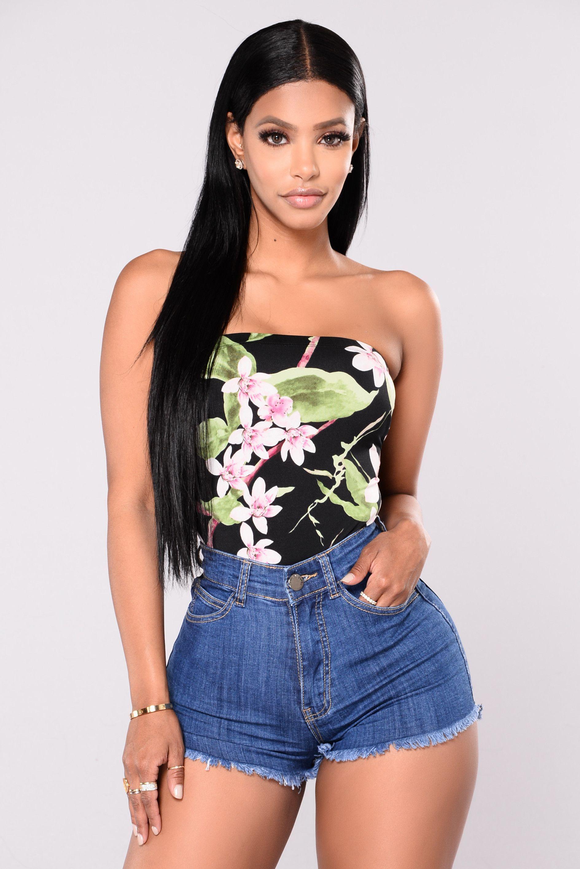 Marion Floral Bodysuit - Black