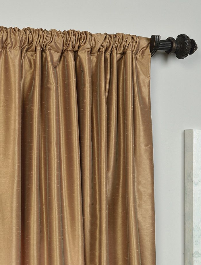Flax Gold Vintage Textured Faux Dupioni Silk Curtain With Images
