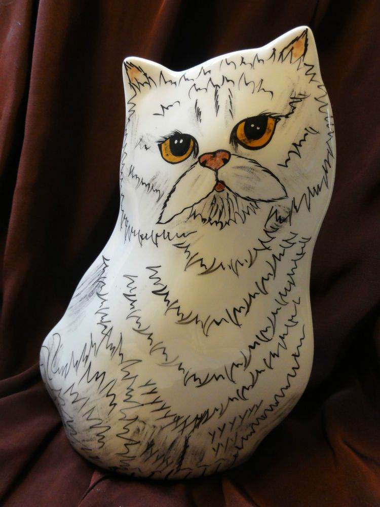 Cats by Nina Lyman White Cat Vase Planter Hand Painted and signed
