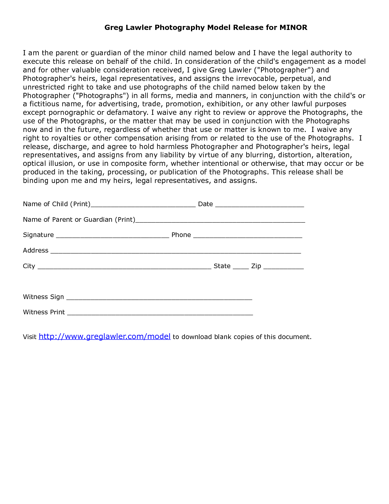 Minor model release form template photography ideas for Waiver of liability template uk