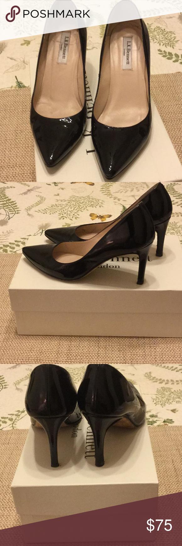 LK BENNETT Floret Black Patent Heels