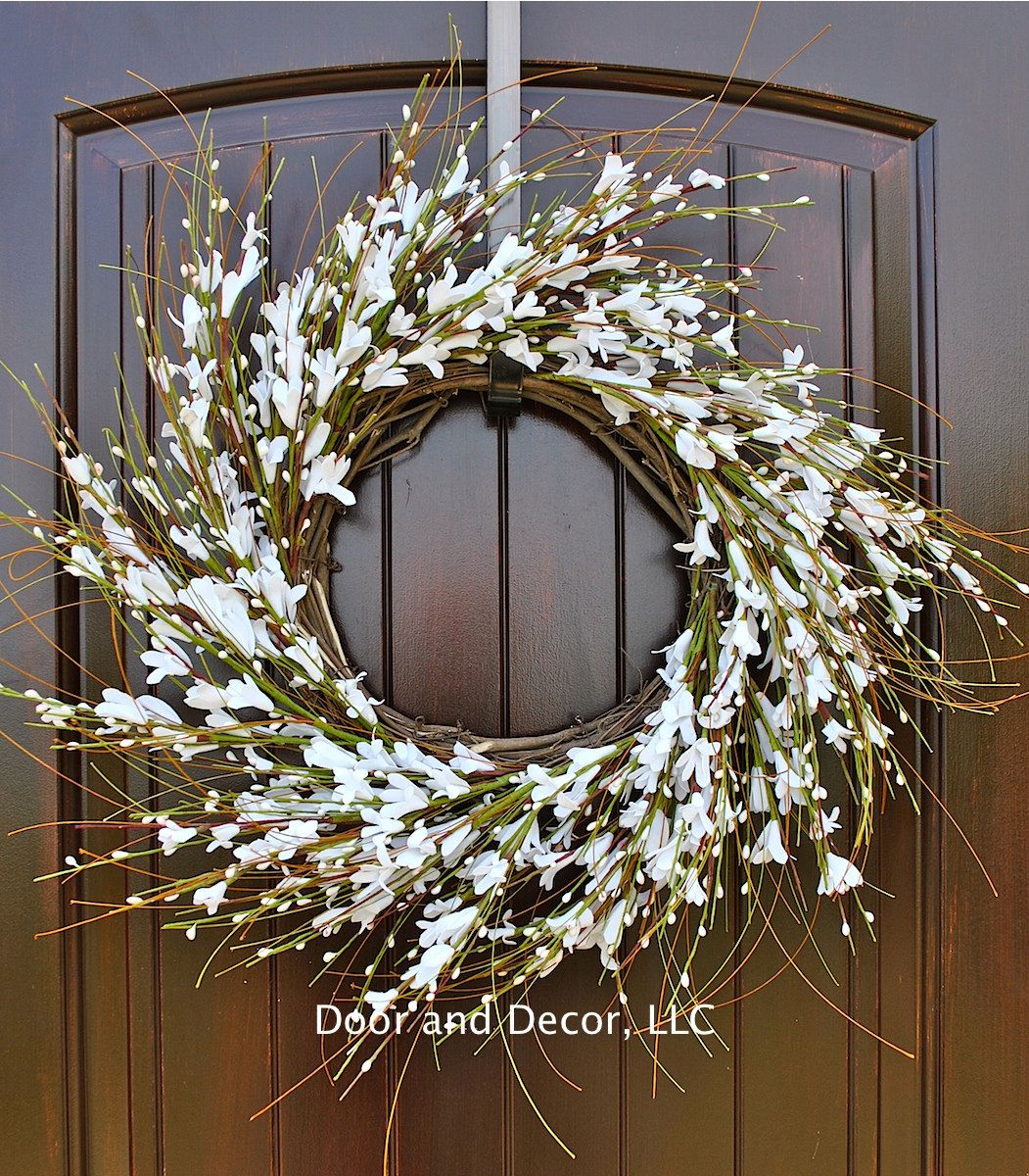 White Flower Wreath Housewarming Gift Wedding Decor Spring Wedding Wreath White Forsythia Wreath Wreaths For Front Door Front Door Decor White Wreath