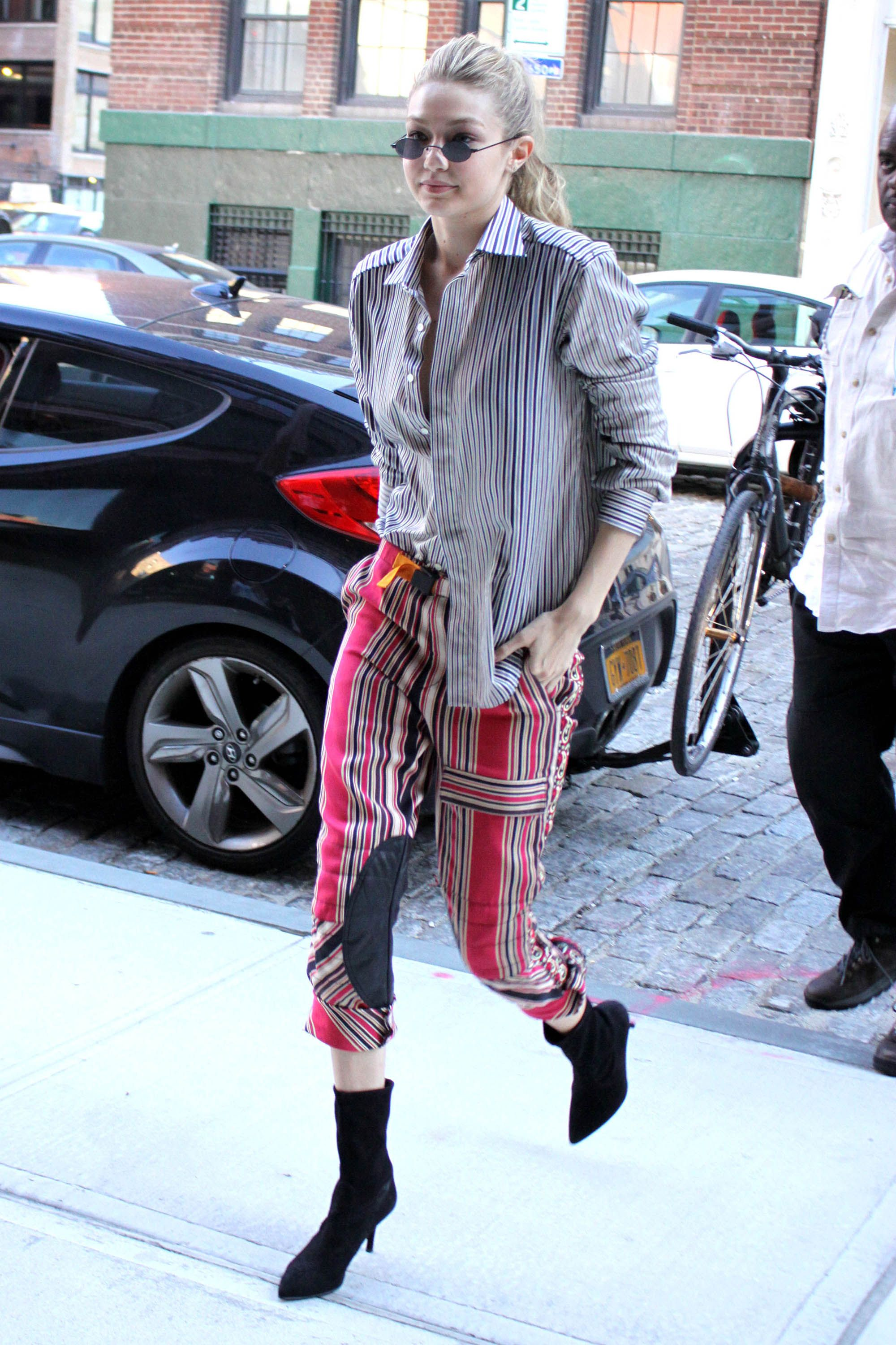 37b21eb9d64 Gigi Hadid out in NYC in the CLING Kitten Heel Bootie in Black Suede   inourshoes