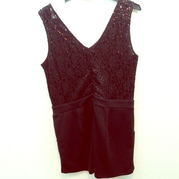 NWT Black Dressy Romper Black short romper with lace and sequin top detail and black shorts with pockets.  Super cute, still has tags (Macy's store created tag, not manufacturers') and has never been worn. one clothing Pants Jumpsuits & Rompers
