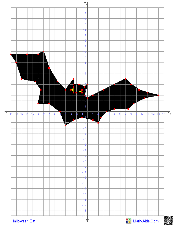Printable Worksheets graphing on a coordinate plane worksheets : Four Quadrant Graphing Characters Worksheets-bat | Lennetta's ...