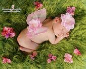 Newborn Wing Props Perfectly Pink - Baby Pink Gli Butterfly Wings with Silk Flower Accent and Matching Headband