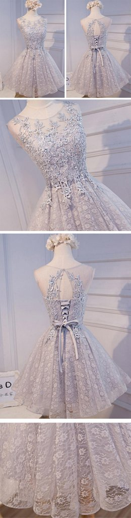 Open Back Scoop Neckline Gary Lace See Through Homecoming Prom Dresses – SposaDesses