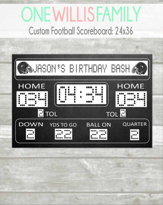 This custom scoreboard is perfect for your Football party decor - scoreboard template