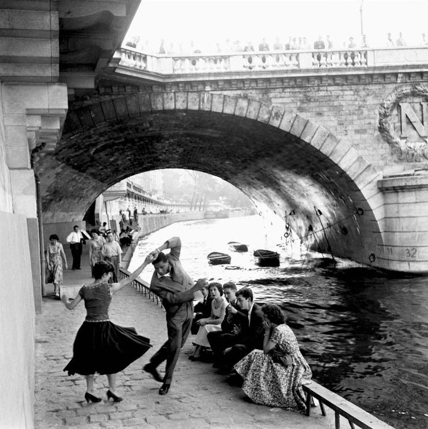Old Black Rugby Dance: Dancing On Les Quais De Paris Next To The Seine, 1955