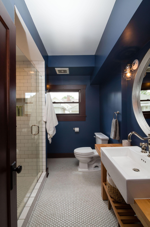 Guest Bathroom With Subway Tile Shower, Hexagon Tile Bathroom Floor,