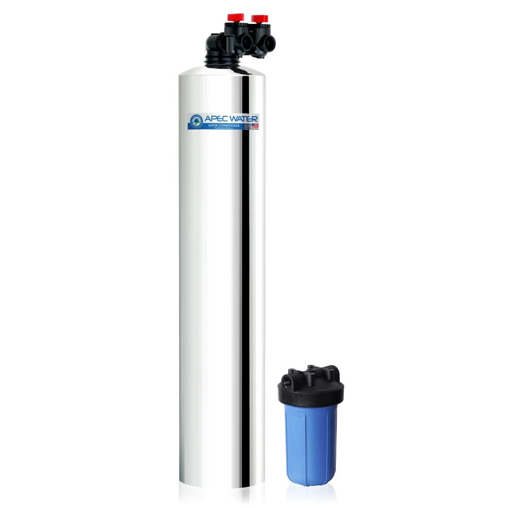 Apec Water Systems Premium 15 Gpm Whole House Salt Free Water Softener System With Pre Filter Metallics Well Water System Water Systems Hard Water Spots
