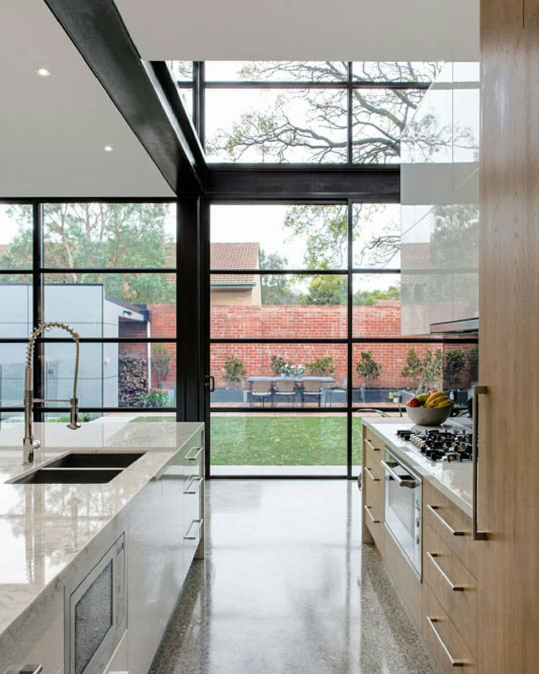 How S This For A Statement Kitchen Polished Concrete Floors Large Statement Windows In 2020 Statement Kitchen Windows Bathtub Walls