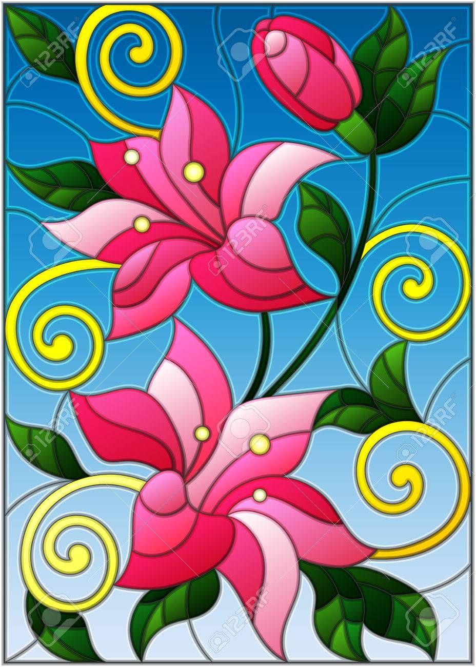 Ilustracion En Estilo Vitral Con Flores Y Hojas De Lirios Vitrales Pintados Pintura En Vitral Vitrales