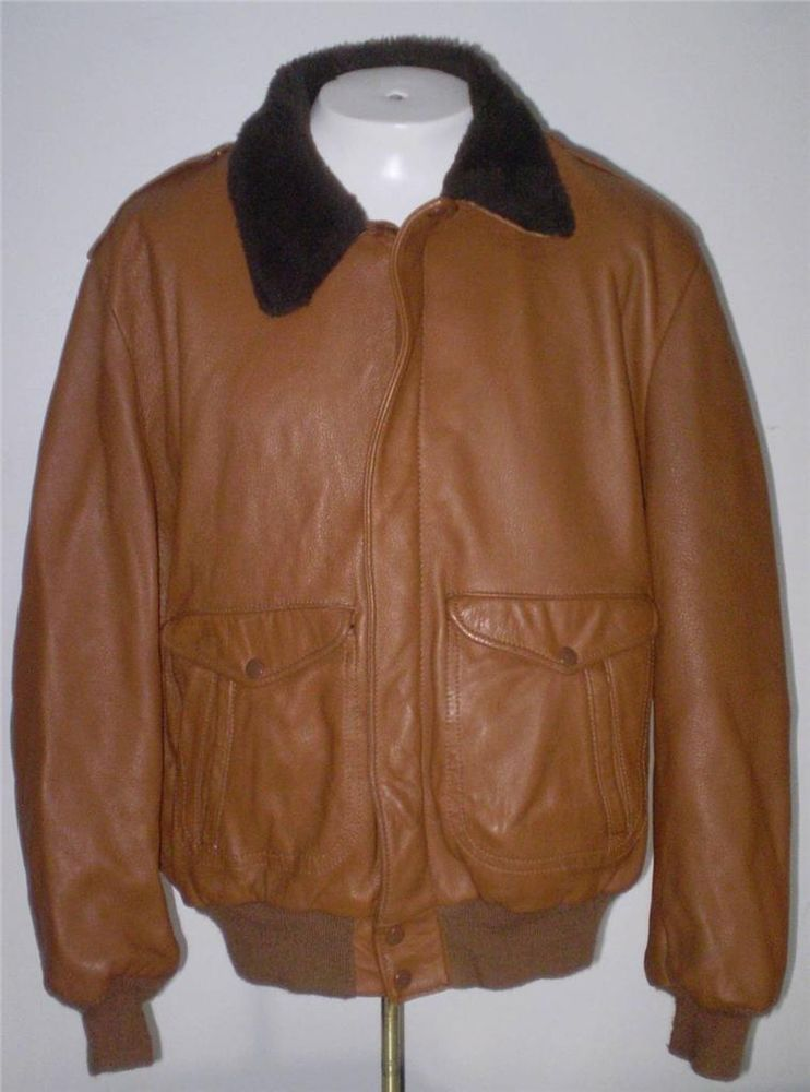 Vintage Mens Mid Western Sports Togs Deerskin Bomber Flight Jacket Brown USA 50 #MidWesternSportsTogs #FlightBomber