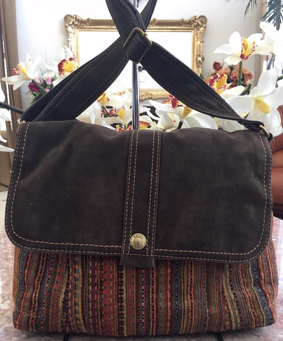 Fossil Multi-color Stripe Canvas Suede Flap Messenger Medium Shoulder Bag EUC | eBay